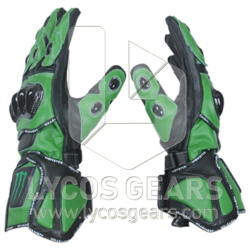 Kawasaki Monster Energy Motorbike Racing Leather Gloves