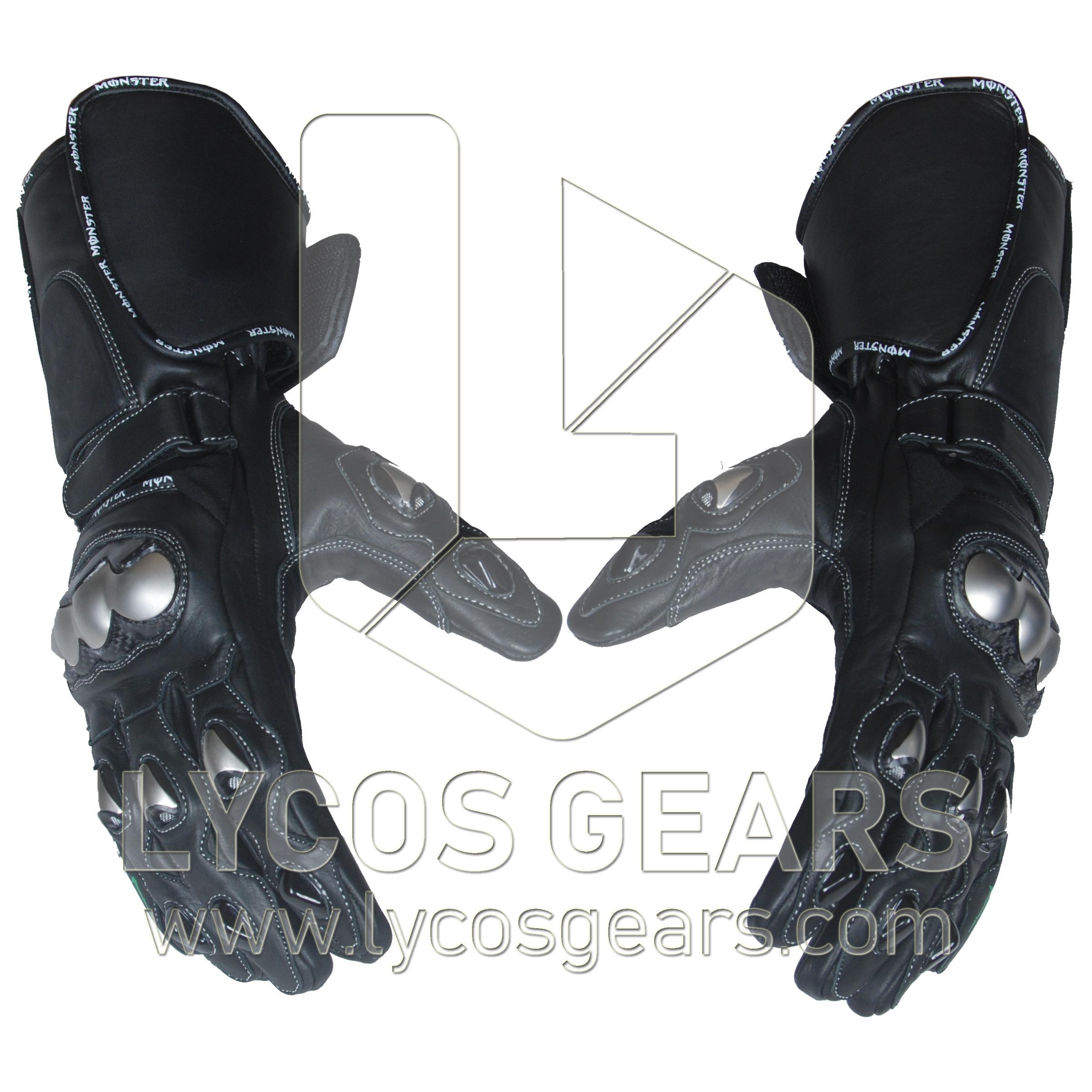 Monster Motorbike Racing Leather Gloves