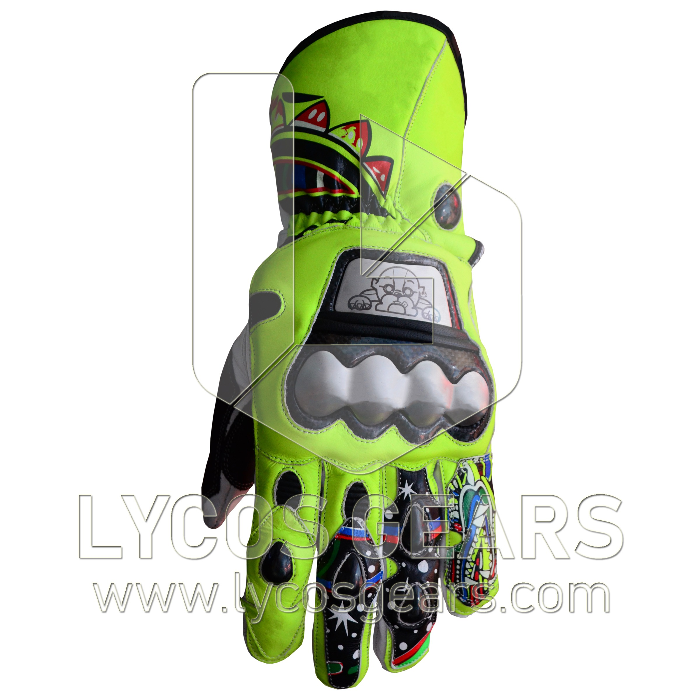 Rossi Motorbike Racing Leather Gloves 2009