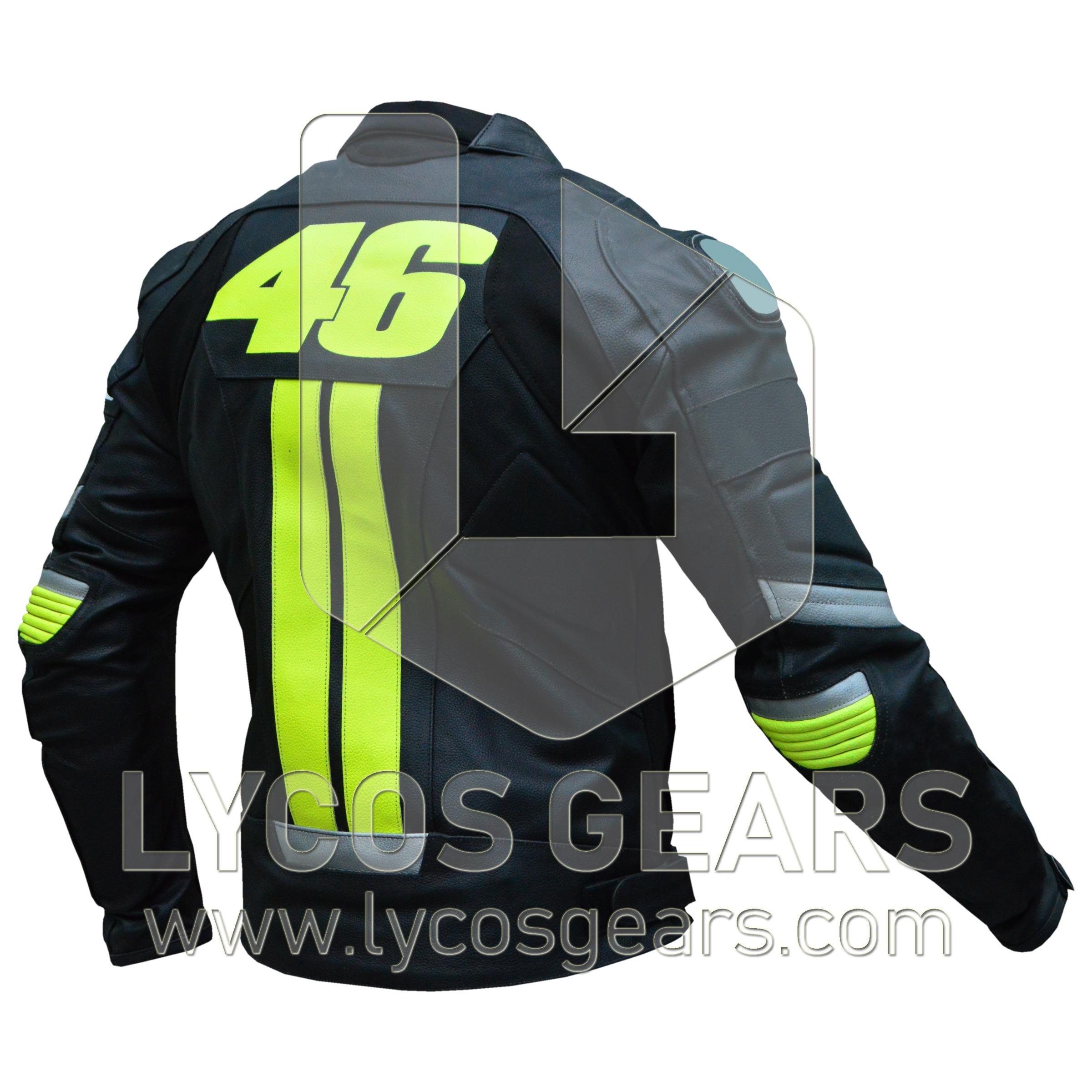 Rossi VR46 Motorbike Racing Leather Jacket