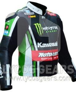 Tom Sykes Kawasaki Ninja Two Piece Motorbike Racing Leather Jacket