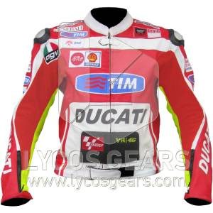 Valentino Rossi Ducati Motorbike Racing Leather Jacket