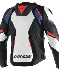 Dainese Racing Motorbike Leather Jacket (White)