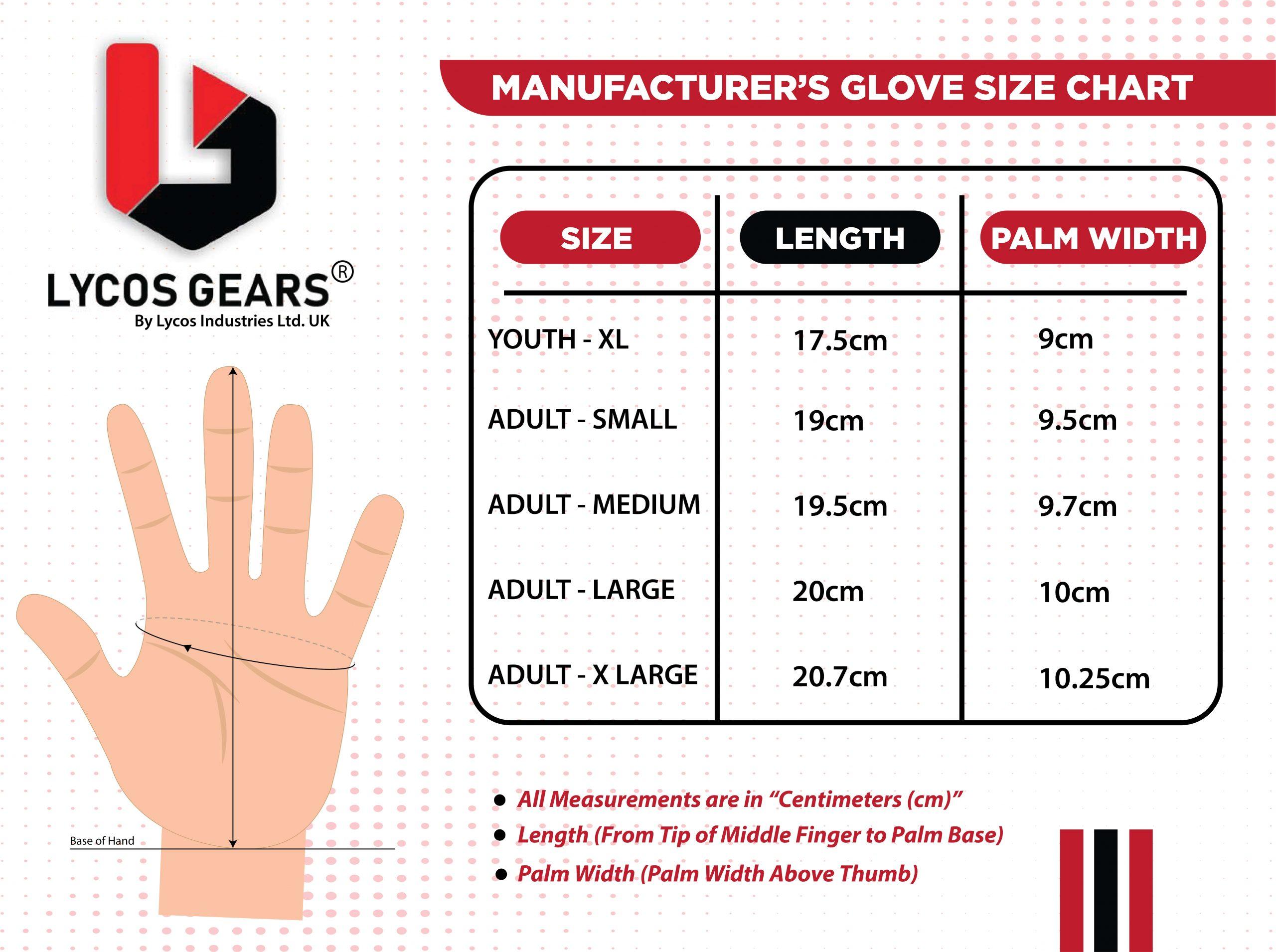 joker gloves size chart