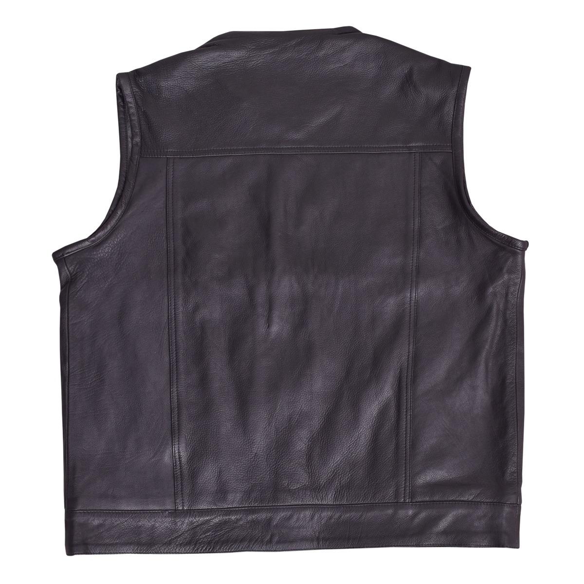 Motorcycle Leather Vest Black Gun Pocket